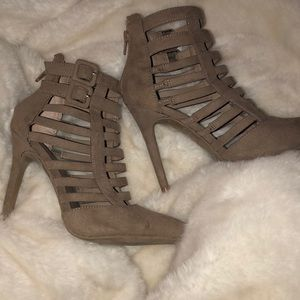 Taupe caged heels
